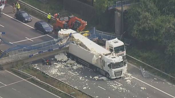 Bridge collapses on UK motorway