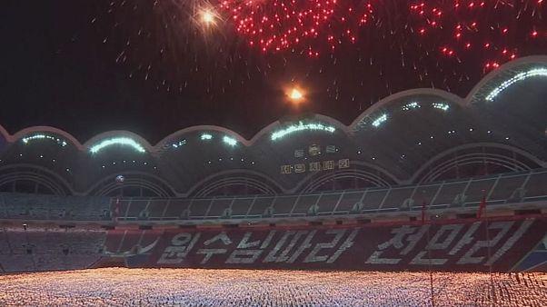 شرکت رهبر کره شمالی در رژه مشعلها