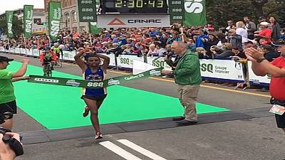 2nd Ethiopian athlete crosses arms in protest against government after winning race in Canada