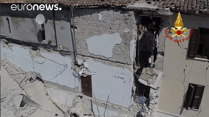 Drone video of Italian town damaged by earthquake