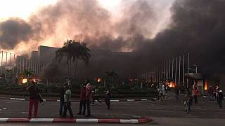 Gabon's parliament set on fire as riots break out amid calls to publish results