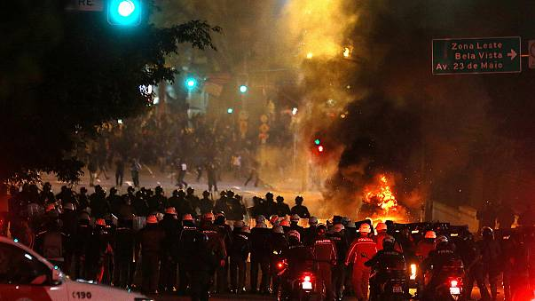 Brazil riot police use tear gas as post impeachment protests turn violent