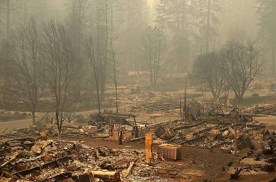 A view of a mobile home park that was destroyed by the Camp Fire on Nov. 10, 2018 in Paradise, California.