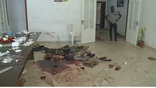 Blood stains, shuttered glass left over after raid on Jean Ping's campaign headquarters