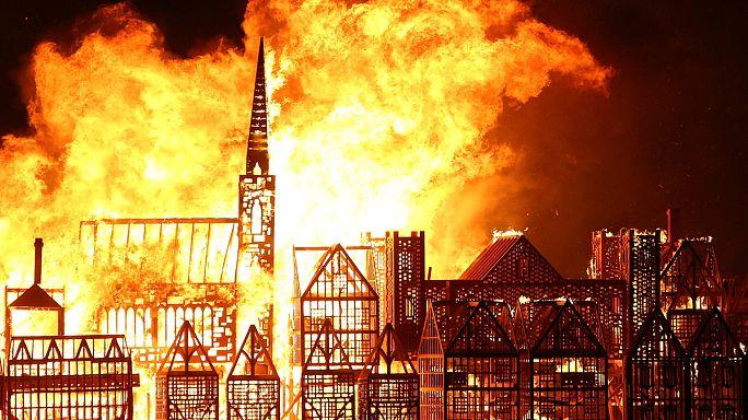 В Лондоне воссоздали Великий пожар 1666 года