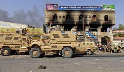 Pro-government forces advance towards central Hodeida on Thursday.
