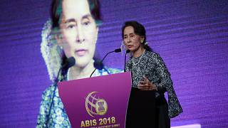 Myanmar's State Counsellor Aung San Suu Kyi delivers her keynote speech at