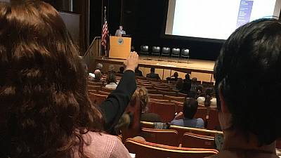 Charles Meyrick, a professor at Housatonic Community College, raises his hand in an apparent Nazi salute during a meeting of faculty and administrators of the Connecticut State Colleges and Universities system.