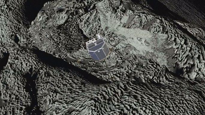 As imagens do módulo espacial Philae numa fenda negra no cometa 67P