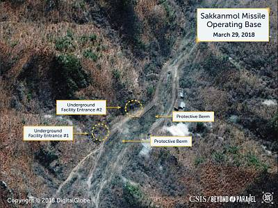A Digital Globe satellite image taken on March 29, 2018 shows what the Washington, D.C.-based CSIS reports is an undeclared missile operating base at Sakkanmol, North Korea.