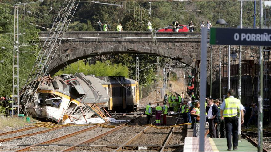 At least three dead after train derails in Galicia, Spain