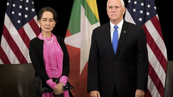 Image: U.S. Vice President Mike Pence, right, meets Myanmar leader Aung San