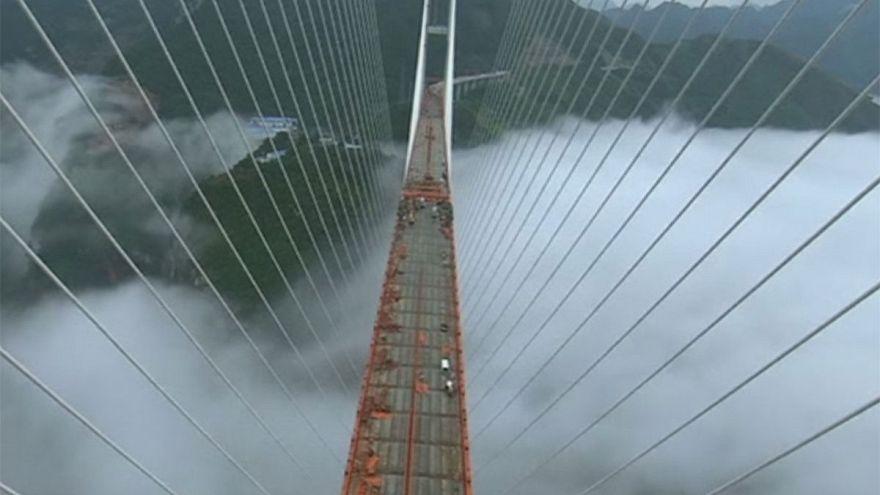 جسر يصل بين جانبي أخدود في الصين هو الأعلى في العالم