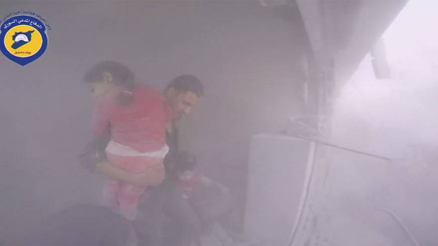 Syria: Young child being rescued – Jets struck a market place