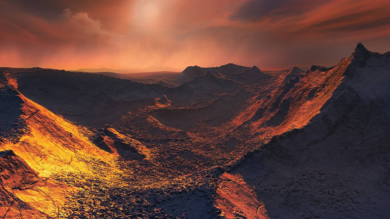 "An artist's illustration of the surface of the ""super-Earth"" planet candida"