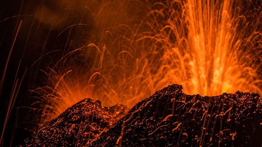 Volcano spews lava on La Reunion island