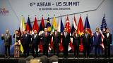 Image: Vice President Mike Pence poses for a photo with ASEAN leaders in Si