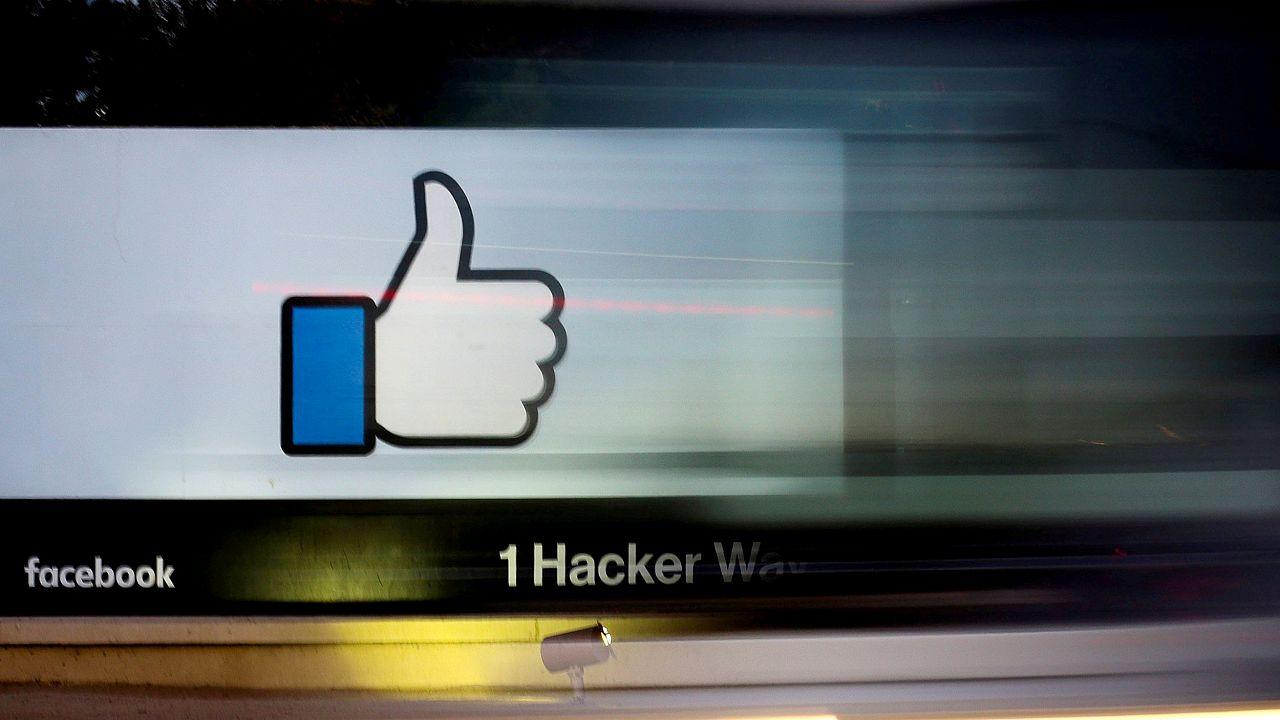 The entrance to Facebook headquarters in Menlo Park, California