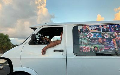 Cesar Sayoc\'s van is seen in Boca Raton, Florida, on Oct. 18, 2018 in this picture obtained from social media.