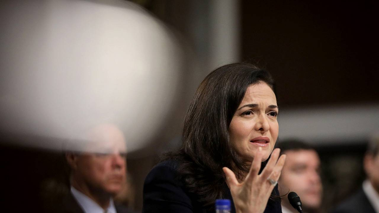 Facebook COO Sheryl Sandberg testifies during a Senate Intelligence Committ