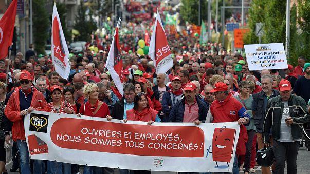 Manifestación en Charleroi contra el cierre de la planta de Caterpillar