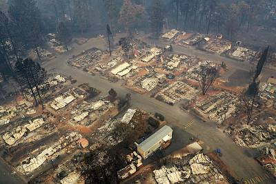 A neighborhood destroyed by the Camp Fire on Nov. 15, 2018 in Paradise, California.