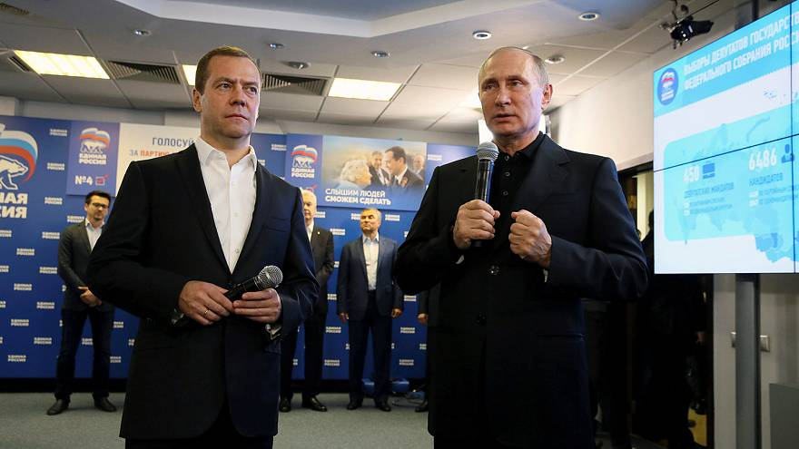 """Eleições na Rússia #Duma2016: Medvedev e Putin """"cantam"""" vitória do Rússia Unida"""