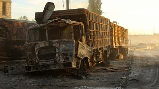 Humanitarian aid convoy hit by air strike in Syria