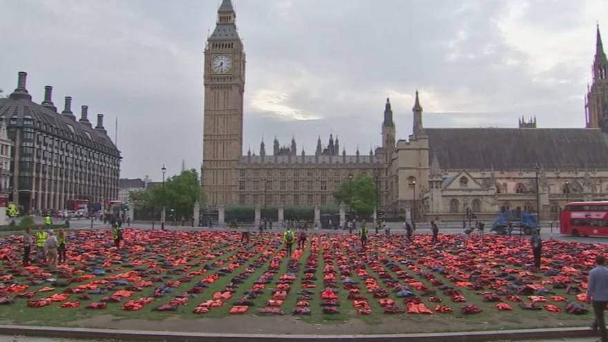 London: refugee life jackets laid out in Parliament Square