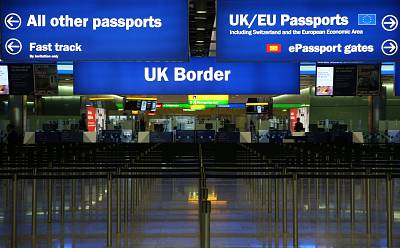 Border control gates at Heathrow Airport in London.