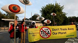 Greenpeace activists in Geneva slam TISA