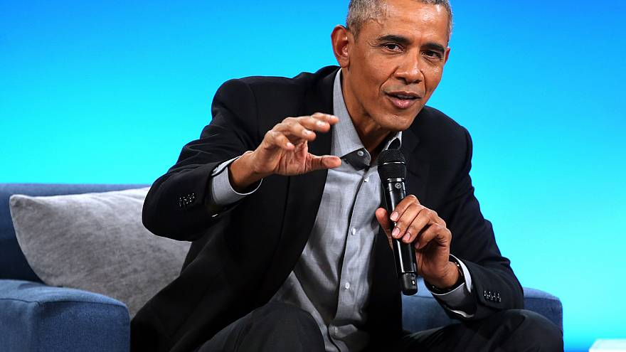 Former President Barack Obama speaks at the Obama Foundation Summit in Chic
