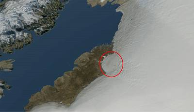 Close-up of the area in which the crater was found.