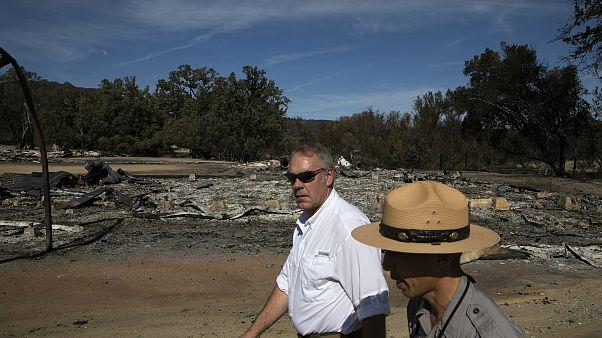 Secretary of the Interior Ryan Zinke visits the decimated Paramount Ranch i