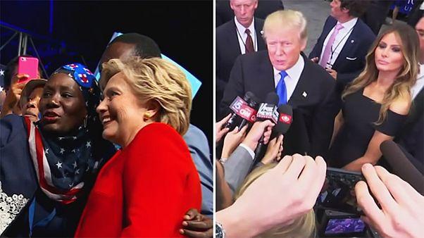 عکس العمل کلینتون و ترامپ پس از اولین مناظره تلویزیونی