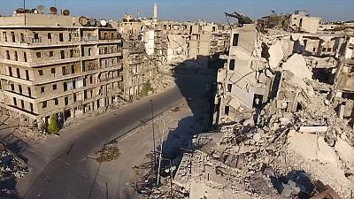 Drone footage shows damage in besieged Aleppo