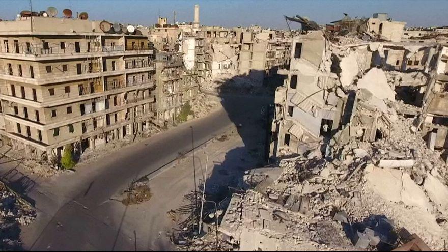 Drone footage shows damage in besieged Aleppo