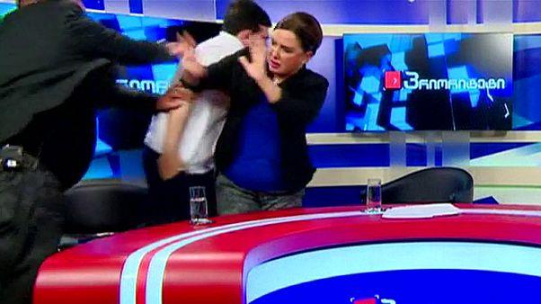 درگیری در جریان یک برنامه زنده تلویزیونی در گرجستان