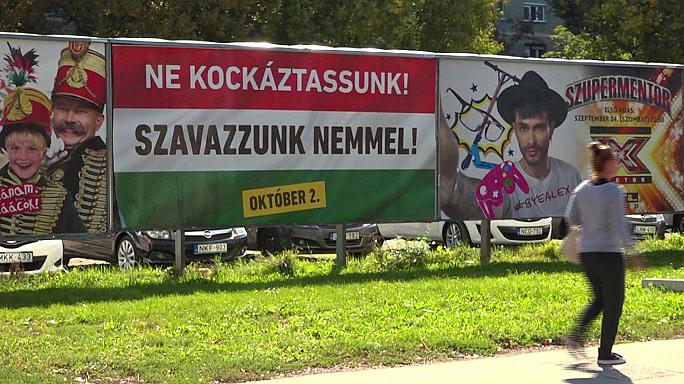 Carteles contra el sistema de reubicación de refugiados llenan las calles de Hungría antes del referéndum