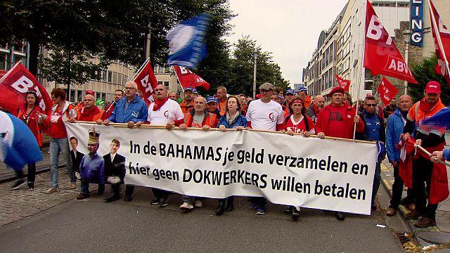 Belgian unions march against labour reform