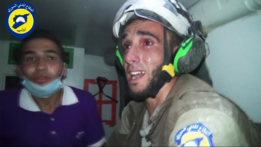Rescuer sobs as he pulls baby alive from Idlib rubble