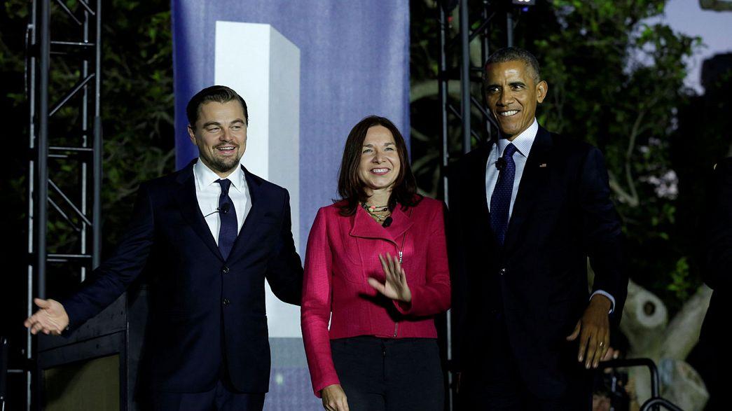Leonardo DiCaprio y Barack Obama, mano a mano, contra el cambio climático