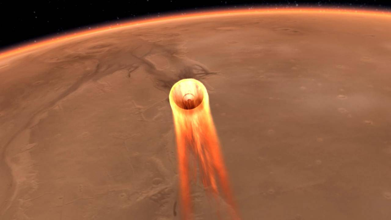 An artist's impression of NASA InSight's landing on Mars, scheduled for Nov