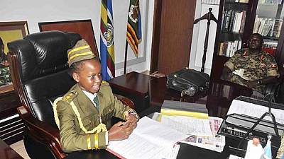 [Photos] 8-year-old girl acts as Uganda's army chief for 10 minutes