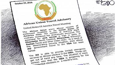 [Photo] AU dismisses cartoon warning of insecurity in the US