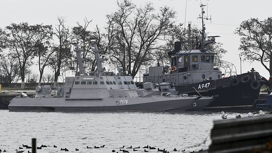 Image: The three Ukrainian ships docked in Kerch, Crimea, on Monday.