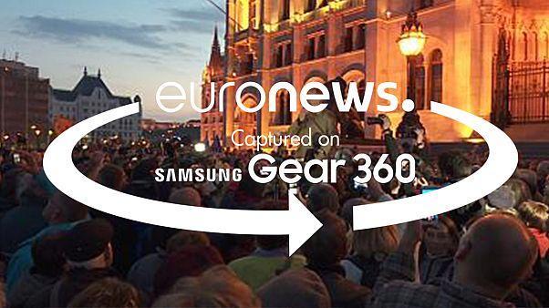 Панорамное видео с акции протеста в Будапеште