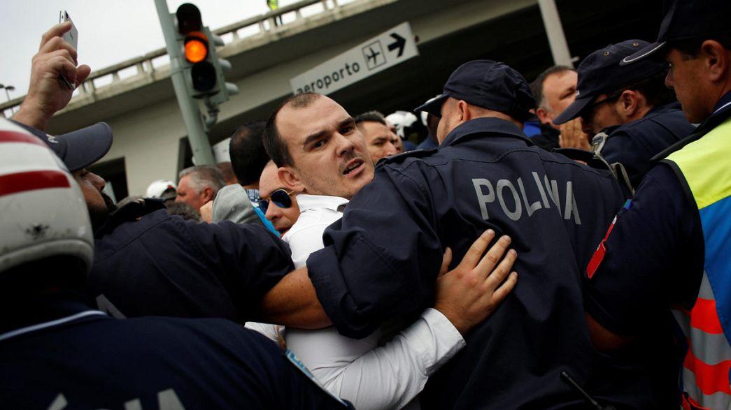 Los taxistas portugueses se manifiestan contra la anunciada legalización de empresas como Uber