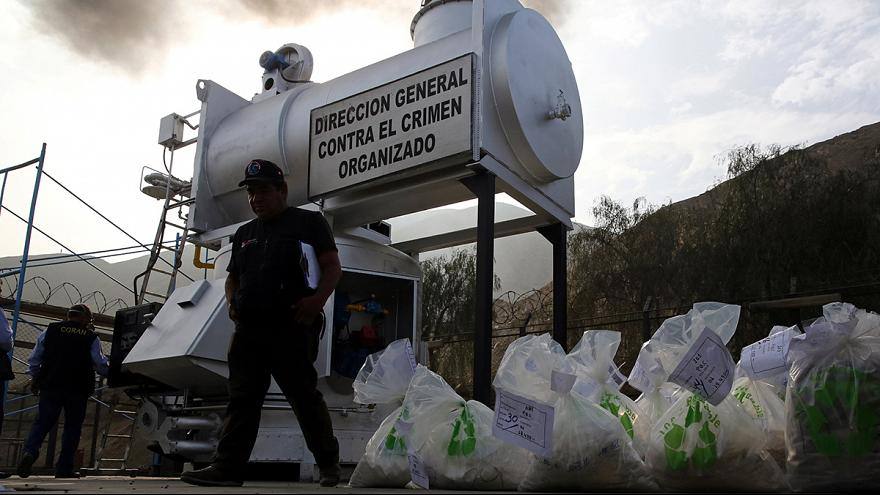Confiscated drugs set alight in Peru