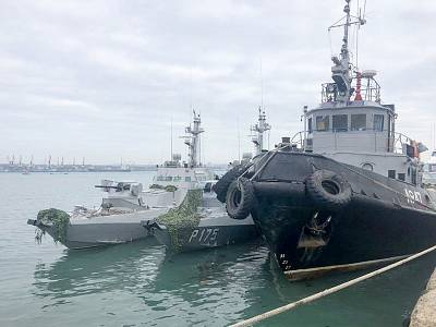 The Ukrainian navy\'s Nikopol gunboat, the Berdyansk gunboat and the Yany Kapu tugboat were taken to Kerch after being seized by Russia.